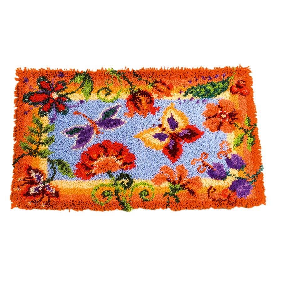kit de tapis point noue fleurs decoratives vervaco