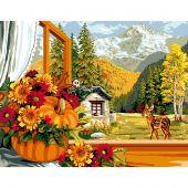 Canevas Pénélope  - Luc Créations - L'automne à la fenêtre