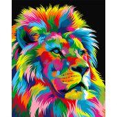 Kit de peinture par numéro - Wizardi - Roi lion arc-en-ciel