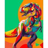 Kit de peinture par numéro - Wizardi - Dinosaure arc-en-ciel