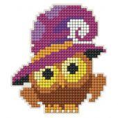 Support magnet broderie Diamant - Collection d'Art - Hibou d'Halloween