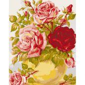 Canevas Pénélope  - Collection d'Art - Vase jaune et roses