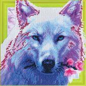 Support carton broderie Diamant - RTO - Loup romantique