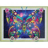 Support carton broderie Diamant - RTO - Papillon fleuri