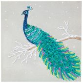 Carte broderie Diamant - Crystal Art D.I.Y - Paon