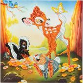 Carte broderie Diamant - Crystal Art D.I.Y - Bambi et ses amis