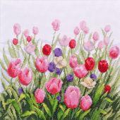 Kit point de croix avec perles - Charivna Mit - La vallée des tulipes