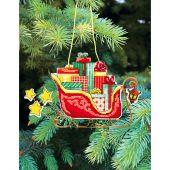 Kit d'ornement à broder - Charivna Mit - Jouets de Noël : Traîneau