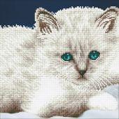 Kit de broderie Diamant - Diamond Art - Chat blanc
