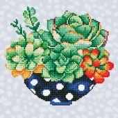 Kit de broderie Diamant - Diamond Art - Bol de succulentes