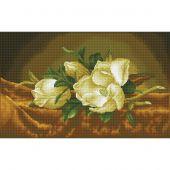 Kit de broderie Diamant - Diamond Dotz - Magnolias sur velours doré