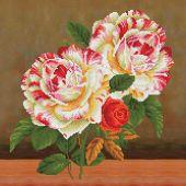 Kit de coussin broderie Diamant - Diamond Dotz - Bouquet de roses et camélias 2