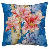 Kit de coussin broderie Diamant - Diamond Dotz - Magnolias sur fond bleu 1