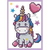 Carte broderie Diamant - Diamond Dotz - Petite licorne