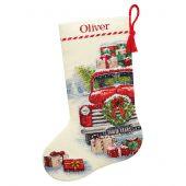 Kit de chaussette de Noël à broder - Dimensions - Le camion du Père Noël