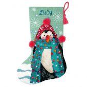 Kit de chaussette de Noël à broder - Dimensions - Pingouin