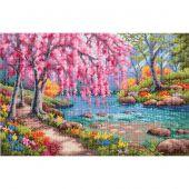 Kit point de croix - Dimensions - Ruisseau aux fleurs de cerisiers