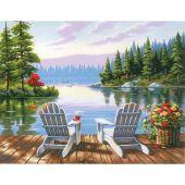 Kit de peinture par numéro - Dimensions - Matinée au bord du lac