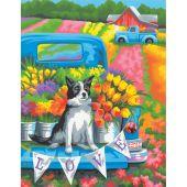Kit de peinture par numéro - Dimensions - Chien parmi les fleurs