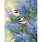 Kit de peinture par numéro - Dimensions - Mésanges et lilas