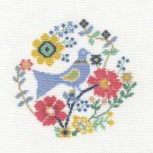 Kit point de croix avec tambour - DMC - Un oiseau dans les fleurs