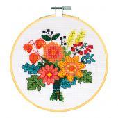 Kit point de croix avec tambour - DMC - Bouquet d'automne
