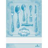 Torchon à broder - DMC - Couverts Vintage - Bleu
