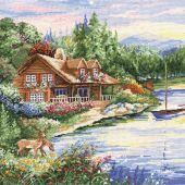 Kit point de croix - Design works - Cabane au bord du lac