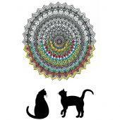 Toile pré-dessinée - Zenbroidery - Mandala chat