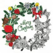 Toile pré-dessinée - Zenbroidery - Couronne de Noël