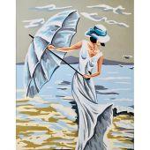 Canevas Pénélope  - Gobelin. L - Femme sur la plage