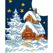 Kit de canevas pour enfant - Luc Créations - Chalet sous la neige