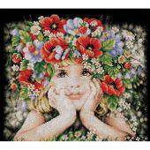 Kit point de croix - Lanarte - Fille aux fleurs