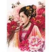Kit point de croix - Lanarte - Femme asiatique en rose