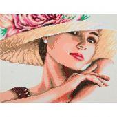 Kit de broderie Diamant - Lanarte - Femme au chapeau