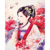 Kit de peinture par numéro - Lanarte - Femme asiatique en rose