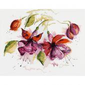 Kit point de croix - Lanarte - Fuchsia à l'aquarelle