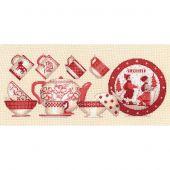 Kit point de croix - Le Bonheur des Dames - Vaisselle rouge