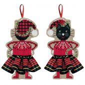 Kit d'ornement à broder - Le Bonheur des Dames - Chat noir jupette écossaise rouge