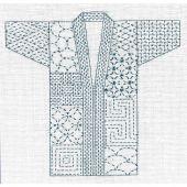 Kit au point de broderie  - Le Bonheur des Dames - Kimono Sashiko blanc