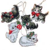 Kit d'ornement à broder - Letistitch - Figurines chatons de Noël