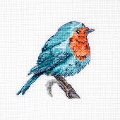Kit point de croix - Luca-S - Petit oiseau bleu et rouge