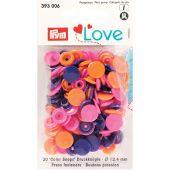 Boutons pression - Prym - 30 boutons à riveter orange / rose / violet - 12.4 mm