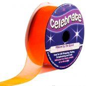 Organza en bobine - Celebrate - Orange foncé uni - 20 mm x 5 m