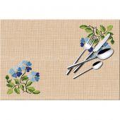 Kit de set de table à broder - Luc Créations - Fleurs bleues