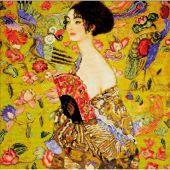 Kit point de croix avec perles - Riolis - Femme à l'éventail d'après Klimt