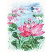 Kit point de croix - Riolis - Fleurs de lotus