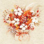Kit point de croix - Riolis - Bouquet de lagures et fleurs de coton