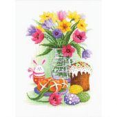 Kit point de croix - Riolis - Fleurs et lapin de Pâques