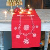 Kit de chemin de table à broder - Vervaco - Etoiles blanches de Noël